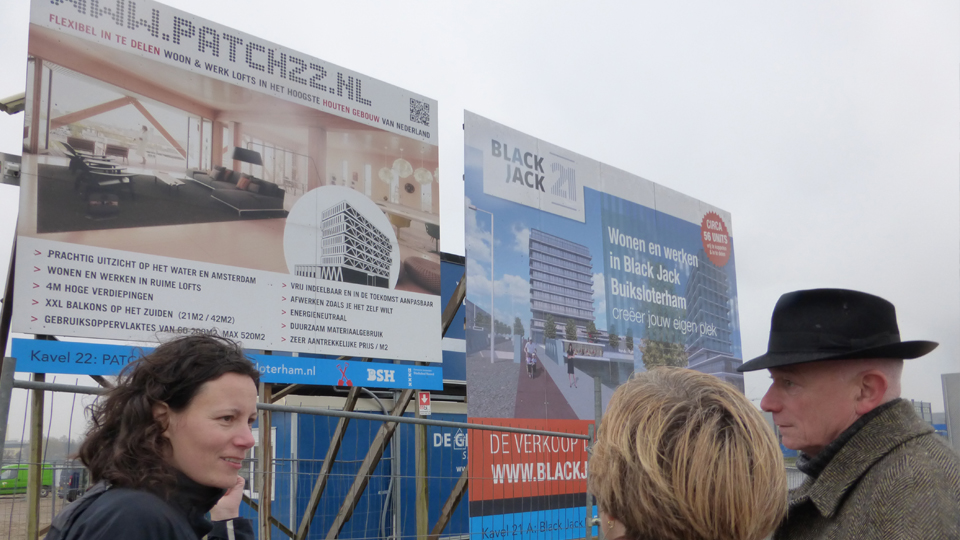 Site boards in Buiksloterham, Amsterdam, advertising collective custom build opportunities